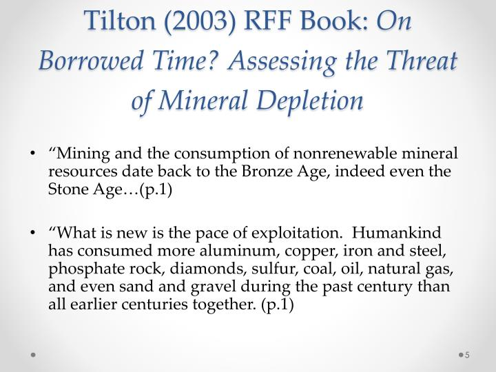 Tilton (2003) RFF Book: