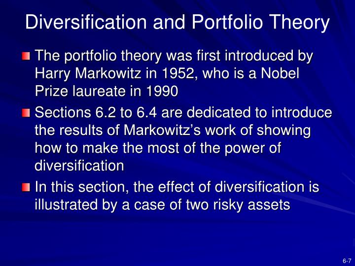 Diversification and Portfolio Theory