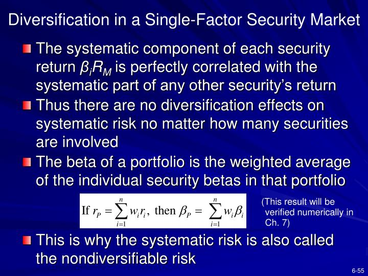 Diversification in a Single-Factor Security Market
