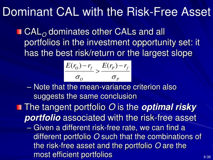 Dominant CAL with the Risk-Free Asset