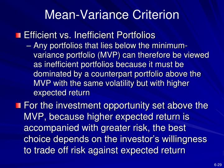 Mean-Variance Criterion
