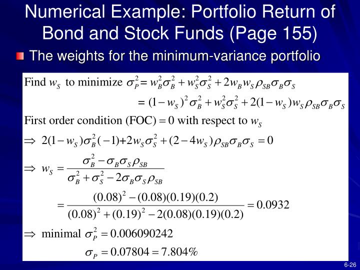 Numerical Example: Portfolio Return of Bond and Stock Funds (Page 155)