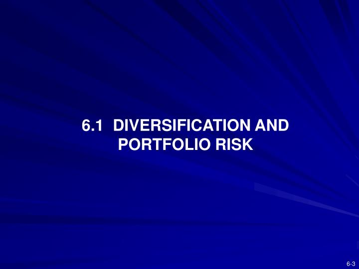 6.1  DIVERSIFICATION AND PORTFOLIO RISK