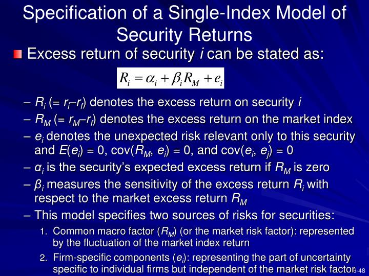 Specification of a Single-Index Model of Security Returns