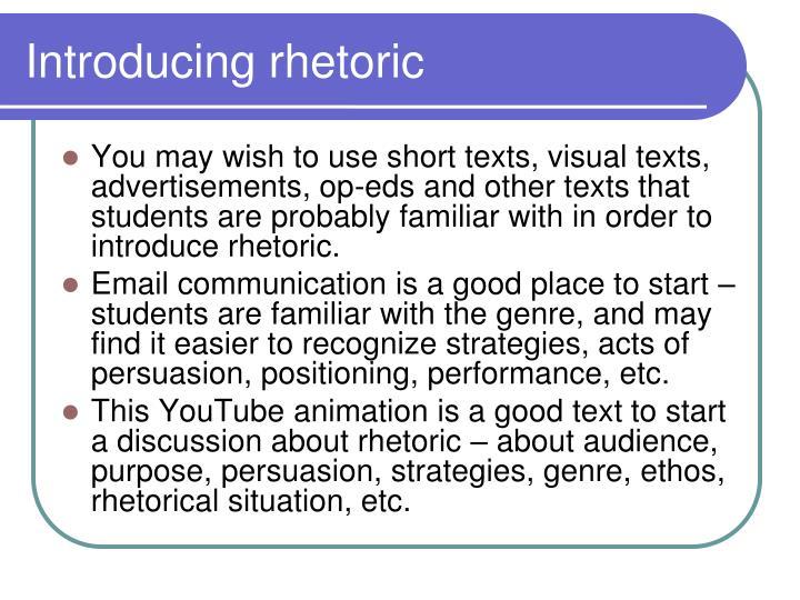 Introducing rhetoric
