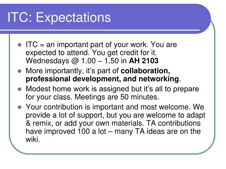 ITC: Expectations