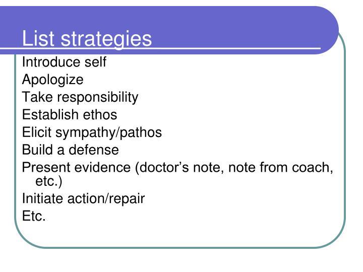 List strategies