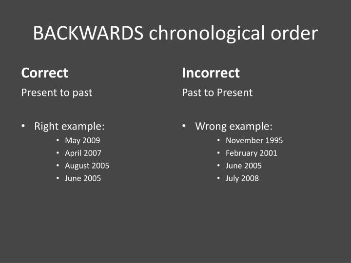 BACKWARDS chronological order