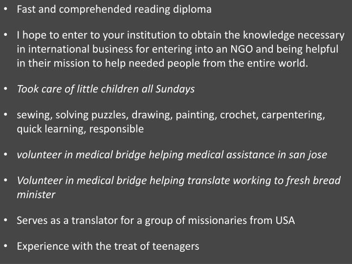 Fast and comprehended reading diploma