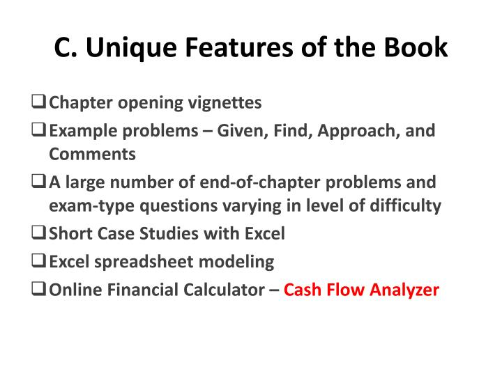 C. Unique Features of the Book