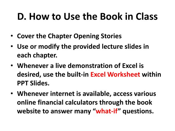 D. How to Use the Book in Class