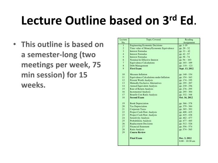 Lecture Outline based on 3