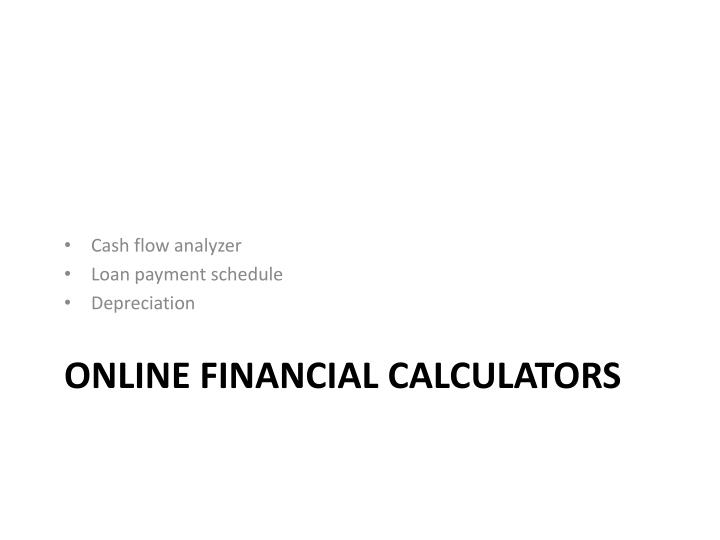 Cash flow analyzer