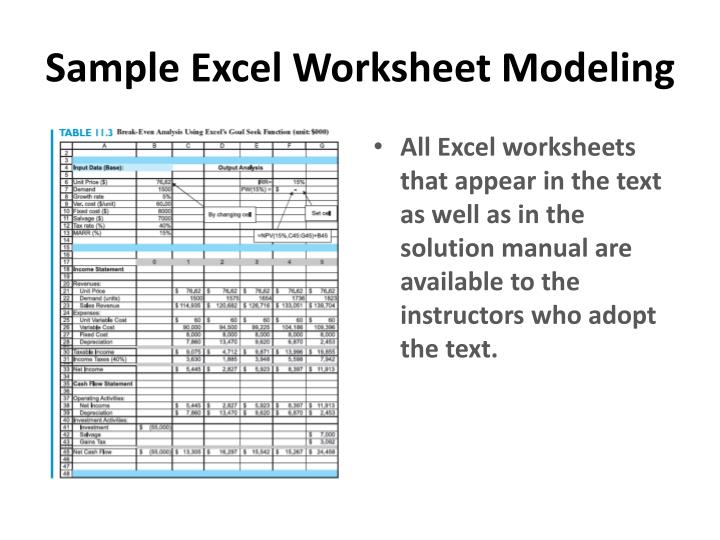 Sample Excel Worksheet Modeling