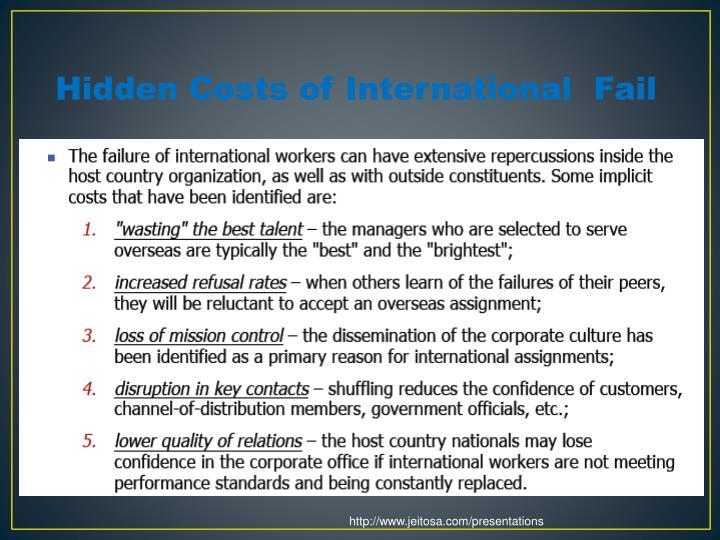 Hidden Costs of International  Fail
