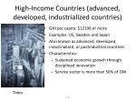 high income countries advanced developed industrialized countries