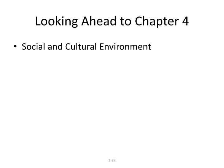 Looking Ahead to Chapter 4
