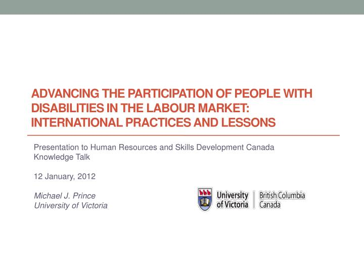 Advancing the participation of people with disabilities in the labour market: