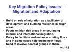 key migration policy issues migration and adaptation