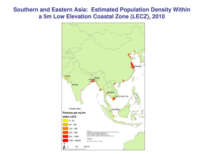 Southern and Eastern Asia:  Estimated Population Density Within a 5m Low Elevation Coastal Zone (LECZ), 2010