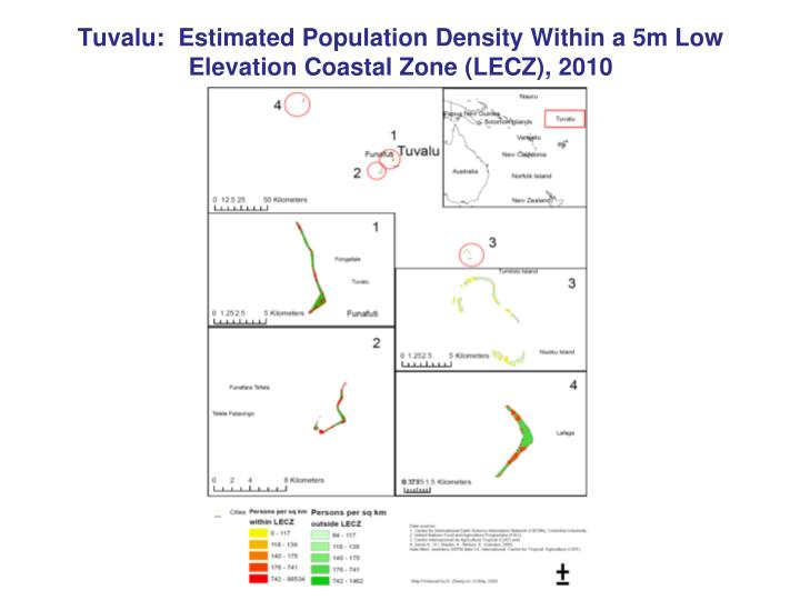 Tuvalu:  Estimated Population Density Within a 5m Low Elevation Coastal Zone (LECZ), 2010