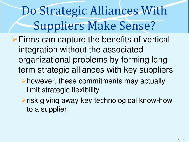 Do Strategic Alliances With Suppliers Make Sense?
