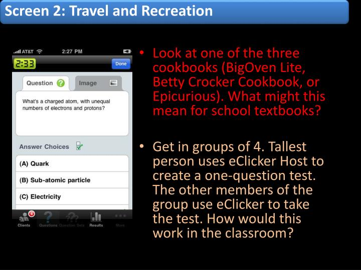 Screen 2: Travel and Recreation
