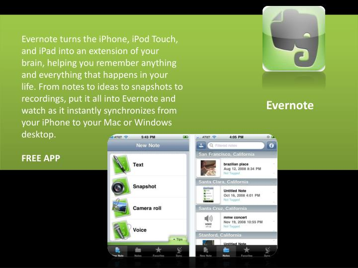 Evernote turns the iPhone, iPod
