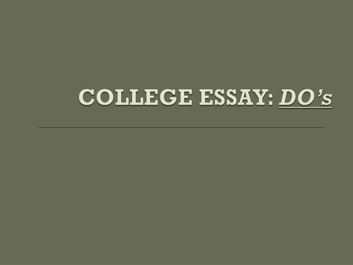 COLLEGE ESSAY: