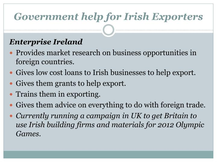Government help for Irish