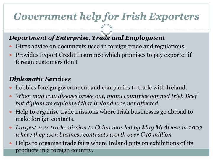 Government help for Irish Exporters