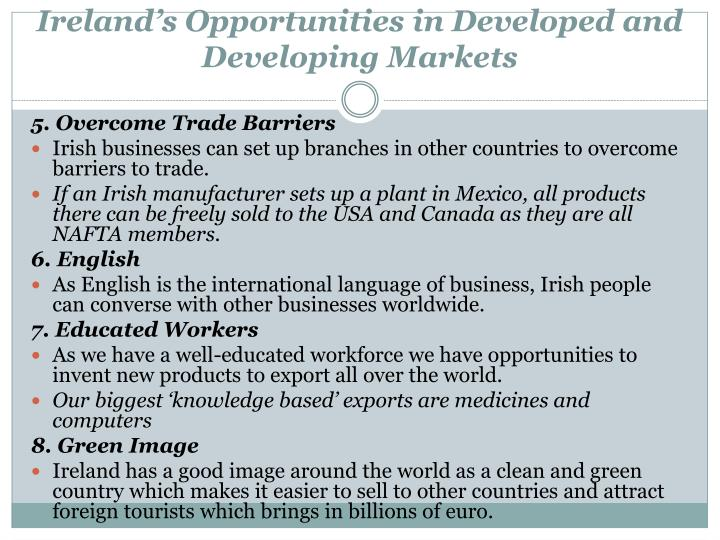Ireland's Opportunities in Developed and Developing Markets