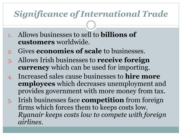 Significance of International