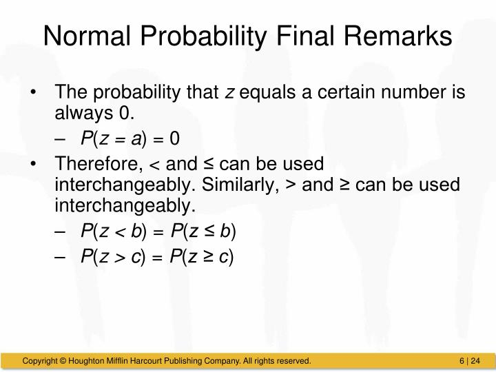 Normal Probability Final Remarks