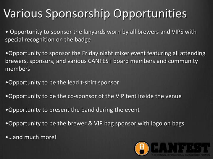 Various Sponsorship Opportunities