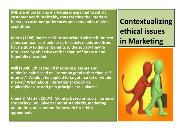 Contextualizing ethical issues in Marketing