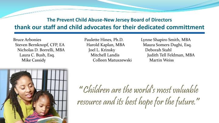 The Prevent Child Abuse-New Jersey Board of Directors