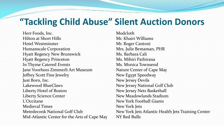 """Tackling Child Abuse"" Silent Auction Donors"