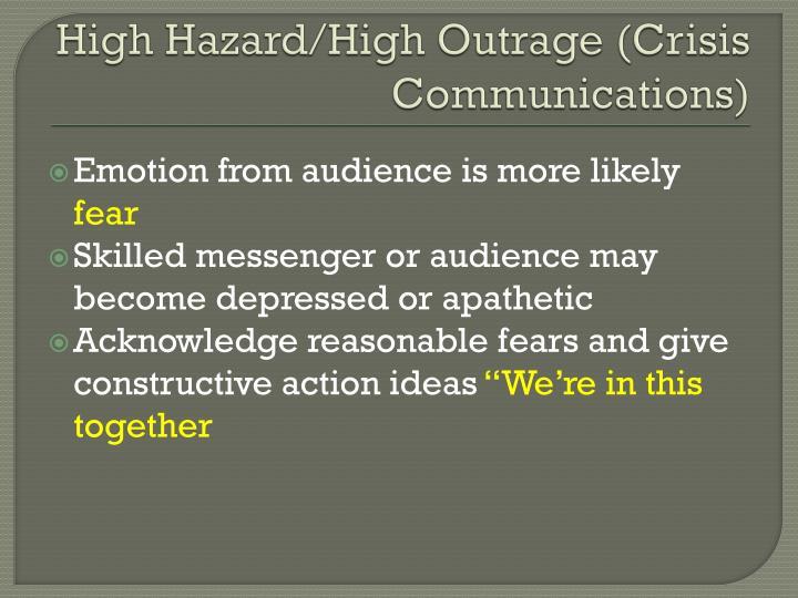 High Hazard/High Outrage (Crisis