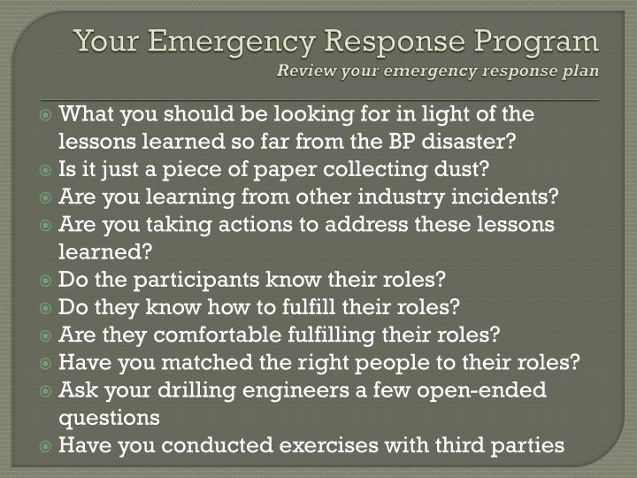 Your Emergency Response Program