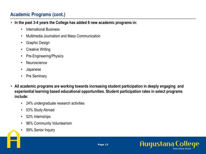 Academic Programs (cont.)