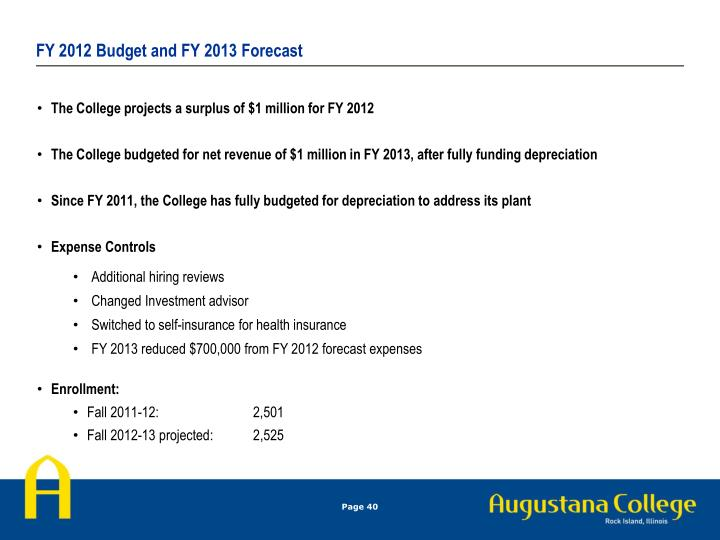 FY 2012 Budget and FY 2013 Forecast