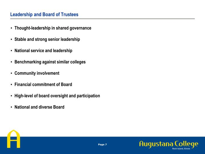 Leadership and Board of Trustees