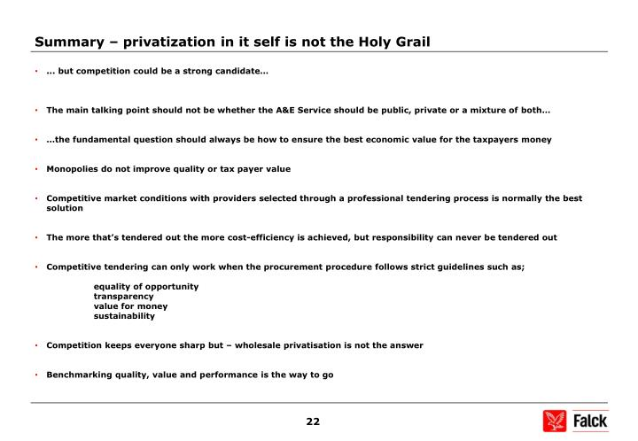 Summary – privatization in it self is not the Holy Grail