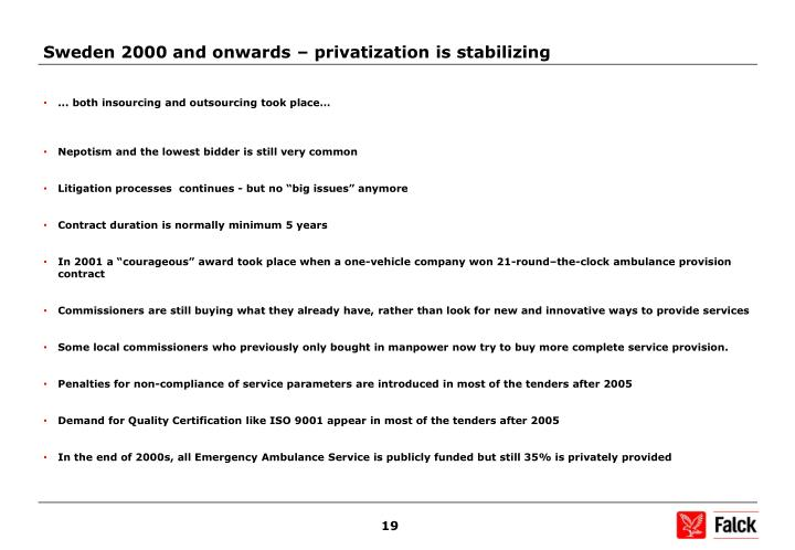 Sweden 2000 and onwards – privatization is stabilizing