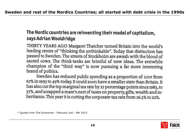 Sweden and rest of the Nordics Countries; all started with debt crisis in the 1990s