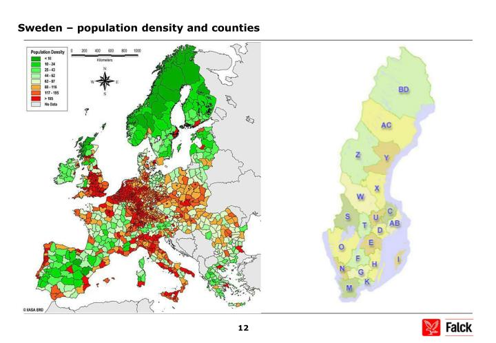 Sweden – population density and counties