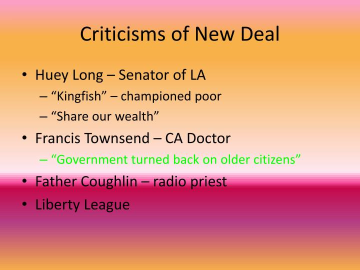 Criticisms of New Deal
