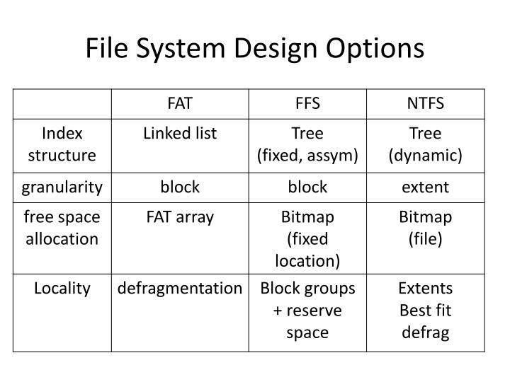 File System Design Options
