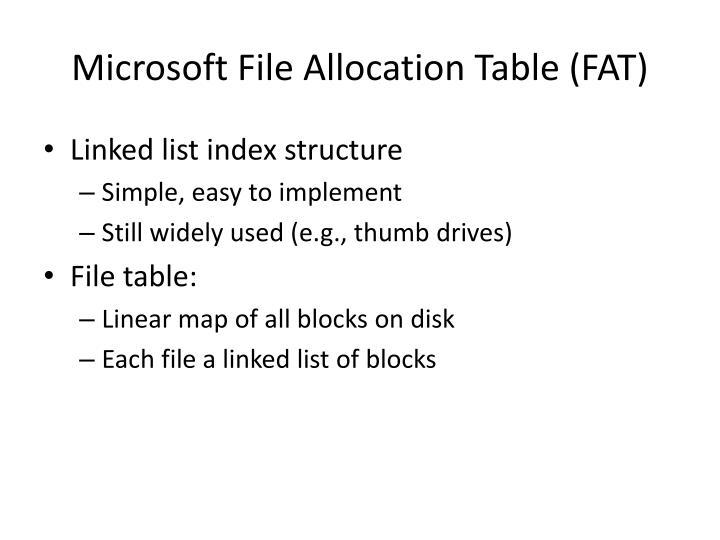 Microsoft File Allocation Table (FAT)